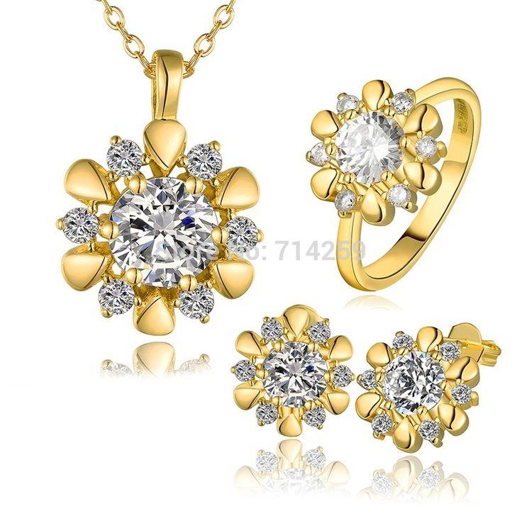 Золото / розовое золото / платиновое покрытие серьги, Кольца и ожерелье ювелирные комплект KS424
