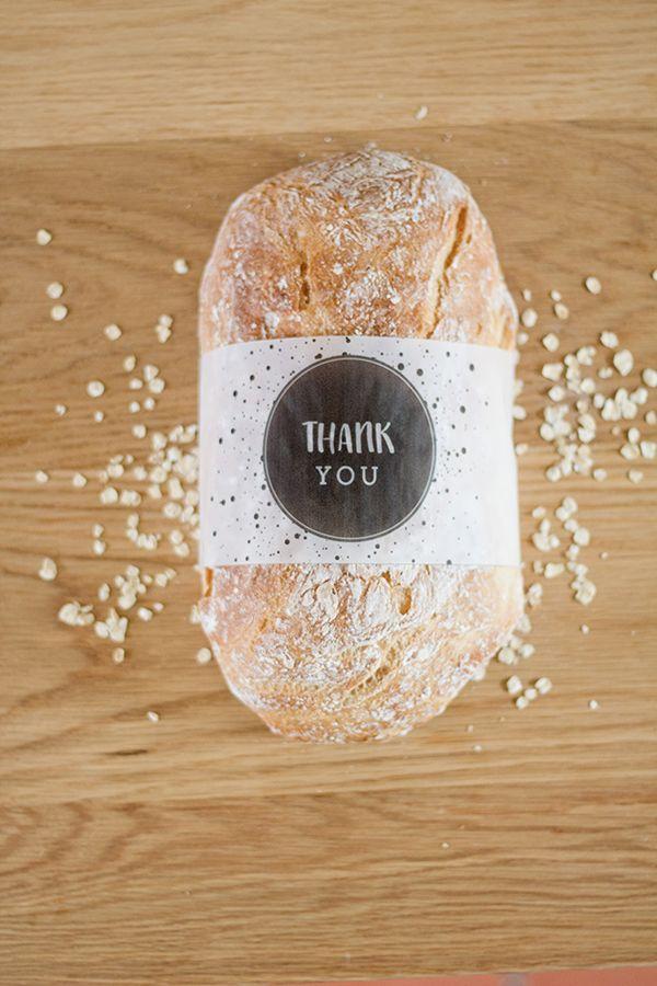"FREE printable: ""Thank You"" bread sleeves"