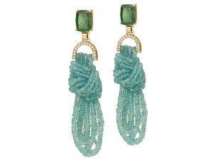 BRKN 20 - Brinco Knot em ouro 18k com Turmalinas verde azuladas, fios de Apatita e Brilhantes de Carol  Kauffmann