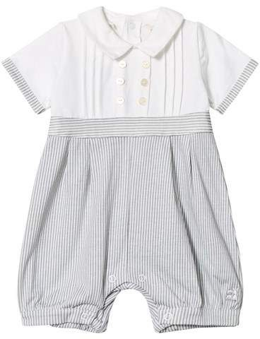 06d275cdf443 Emile et Rose Grey and White Jersey Collared Romper