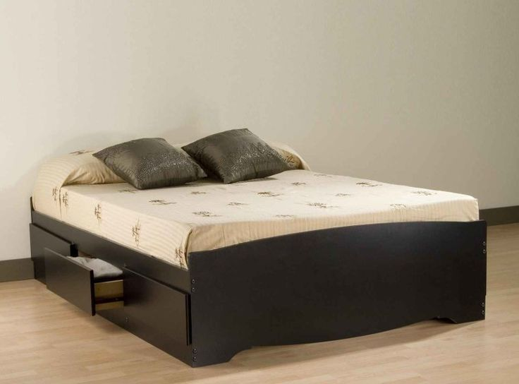 Black Painted Pine Queen Bed Frame Which Furnished With Three Side