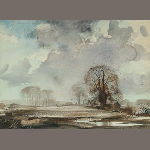 Rowland Hilder (British, 1905-1993) Winter landscape with dark clouds signed in pencil, watercolour 10 x 14 in. (25.5 x 35.5cm.)
