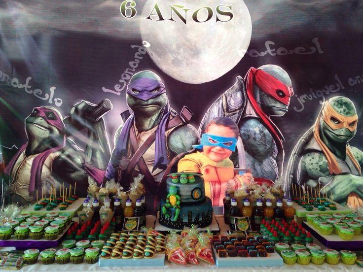 Dessert table Tenage mutant Ninja Turtles mesa de postres tortugas Ninja, Ninja Turtles candie table.