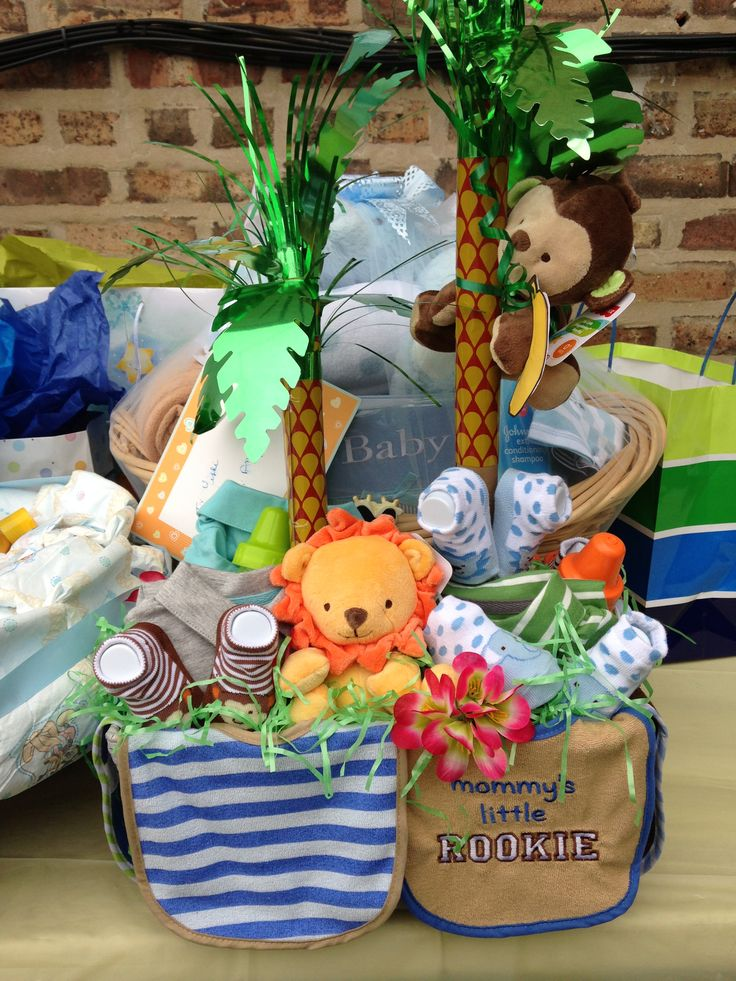 Baby shower jungle theme gift basket baby shower ideas for Baby shower party junge