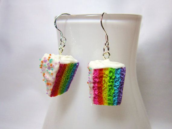 Kawaii Rainbow Cake Frosting and Sprinkles Polymer by DoodieBear, $10.95
