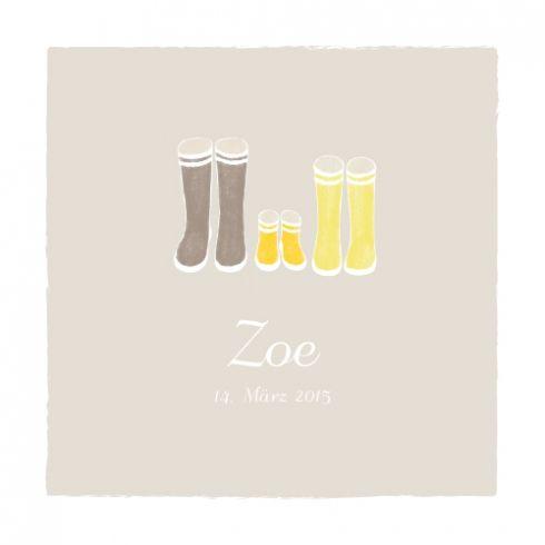 Geburtskarte Stiefel Foto by Tomoë für Rosemood.de #babykarte #gummistiefel #vintage