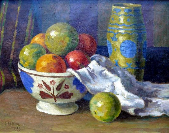 Boonzaier, Gregoire | Still Life with fruit | Oil on Canvas | Code : 7870 | Size : 400 x 500mm | Sorry I