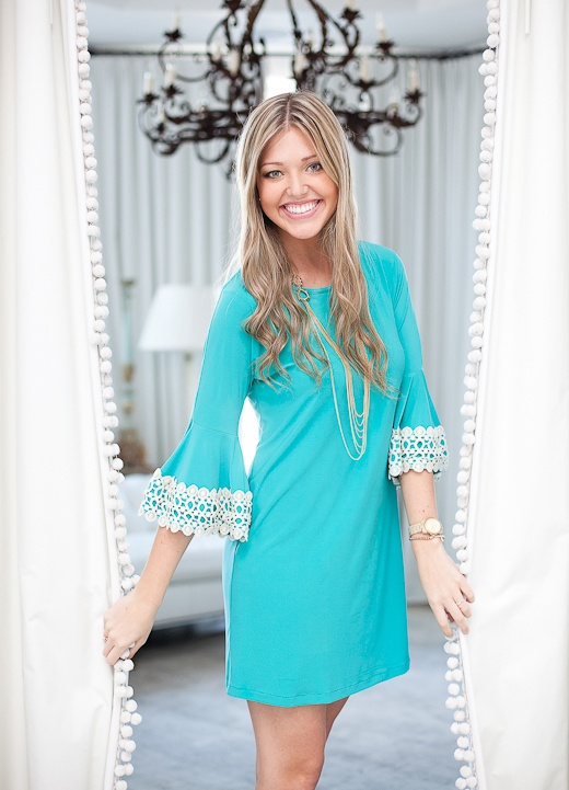 Turq. Dress with crochet bell sleeves.  Sale $73.50 Sizes: S,M,L   Shop www.aliandcoboutique.com
