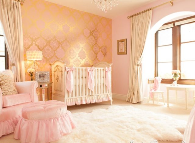 Elegant pink and gold baby girl nursery room