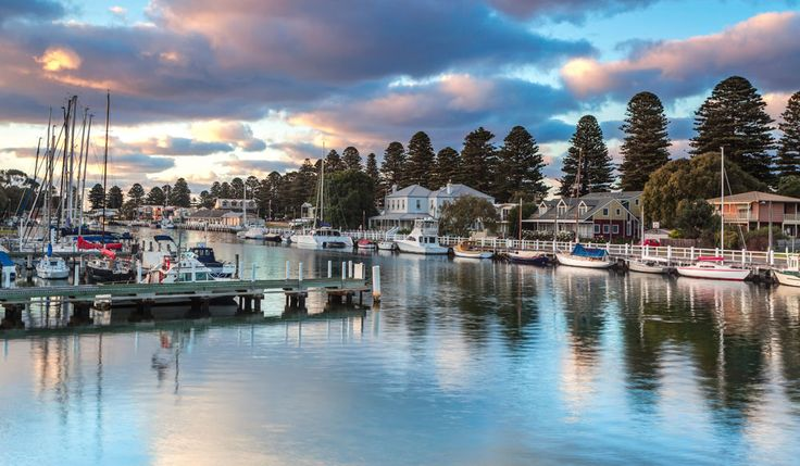 Moyne River in Port Fairy, Victoria's oldest port. This quaint coastal village boasts beautiful beaches and an impressive folk festival. Where? Around 290km (4hrs) southwest of Melbourne on the eastern headland of Portland Bay.