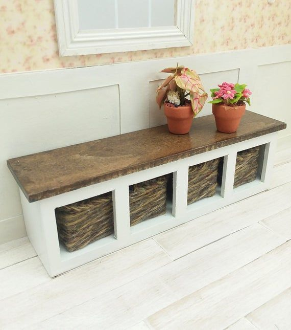 Miniature Bench Seat Dollhouse Furniture One Inch Doll Scale 1 12 Scale Foyer Seating Mini Moder Wooden Bench Seat Wooden Bench Modern Decor Accessories