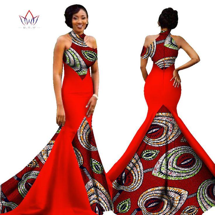 BRW 2017 New African Women Long Dresses Dew Shoulders Women Formal Elegant Dresses Print Wax Party Gowns Plus Size Dress WY1314