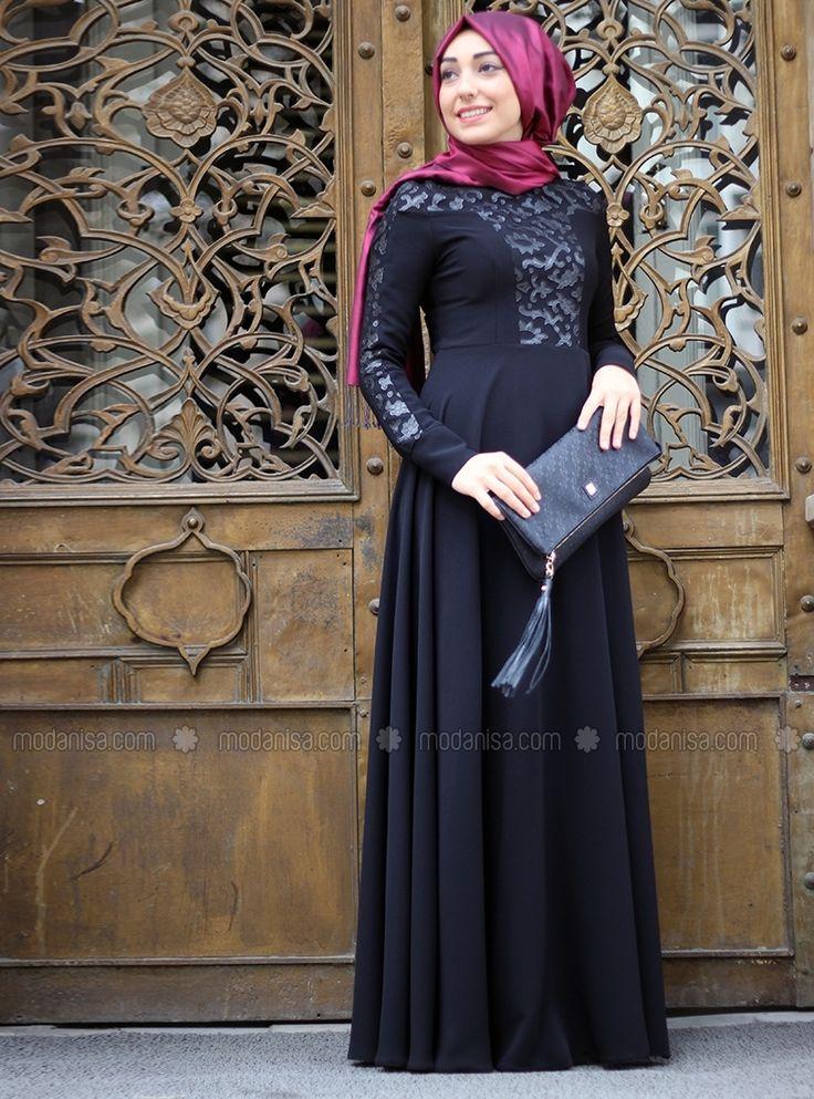 Deri Detaylı Elbise - Siyah - Mevra