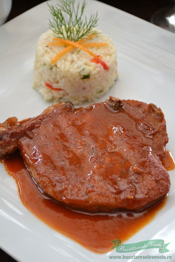 Reteta cotlete de porc in sos barbecue.Cum se pregatesc cotletele de porc.Cotlete in sos barbecue.Ingrediente reteta cotlete de porc in sos barbecue.Pilaf