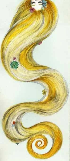 Tangled's Rapunzel's hair illustration via www.Facebook.com/DisneylandForMisfits