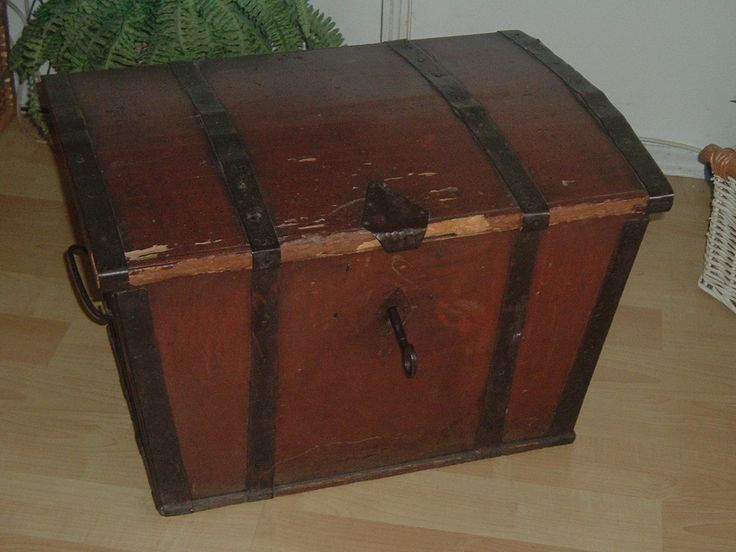 150 yr. old handcrafted Norwegian trunk with hand forged key.