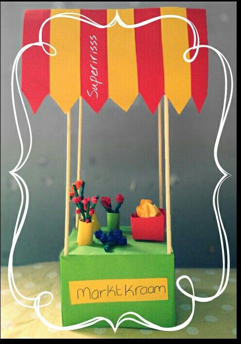 Thema markt -Marktkraam - supermarkt TECHNIEK: bakje vouwen kleuters -knutsel - markt - marktstal - marktkraam - bloemen - bloemenkraam - crêpepapier