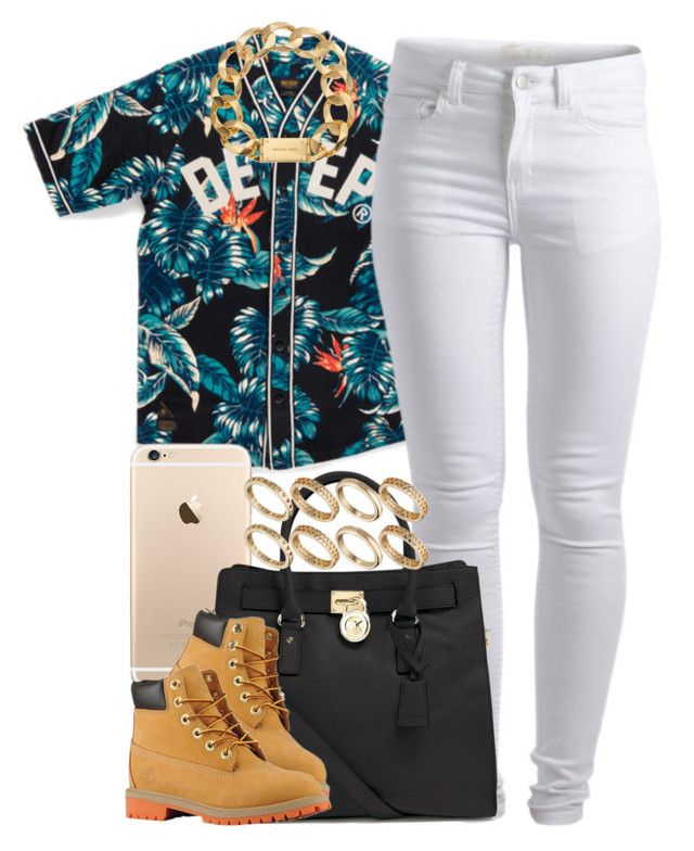 """Deep."" by livelifefreelyy ❤ liked on Polyvore featuring Pieces, MICHAEL Michael Kors, Timberland, Michael Kors and ASOS"