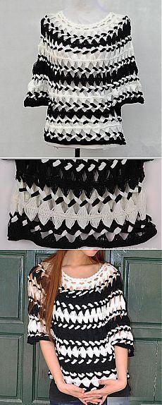 Listrado preto e branco Túnica Blusa Sheer de Tinacrochetstudio