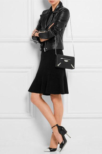 Black leather (Calf) Snap-fastening front flap Weighs approximately 2lbs/ 0.9kg Made in Italy