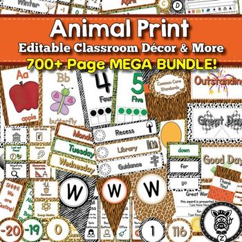 Classroom Decor - Animal Print, Classroom Decor - Bundle, Classroom Theme - Editable, Classroom Posters, Classroom Management, Organizational Tools, Classroom Essentials and More!40 Different Classroom printable products for less than 33 cents each! 709 pages to decorate your classroom.This classroom dcor set includes the following products: Alphabet Character/ Word Wall Squares - Editable!