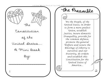 This seven page mini book covers the concept of the United States Constitution for elementary grades. It is a great way to help explain a difficult topic. This book contains fun facts, clear font, and super cute clip art!   *Check out the preview to see all the great information!*  This download includes: -the Preamble to the Constitution -the three branches of government -cool Constitution facts -A timeline to a new country -cute clip art that your students can color!