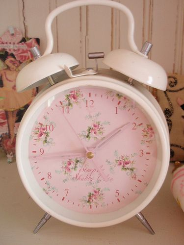 Shabby Alarm Clock - used thrift Clock & Replaced Face with scrap paper.  Clever!  Would be a cute way to update a inexpensive (large face) wall or alarm clock