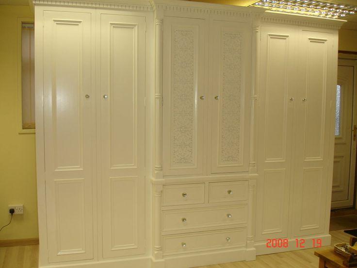 Solid Pine White Painted Large 6 door Jali Style Handmade 10ft Wardrobe  Bespoke