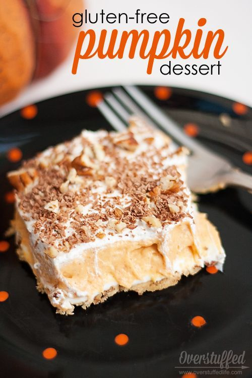 This delicious pumpkin dessert recipe is gluten-free, easy to make, and oh-so-good! #overstuffedlife