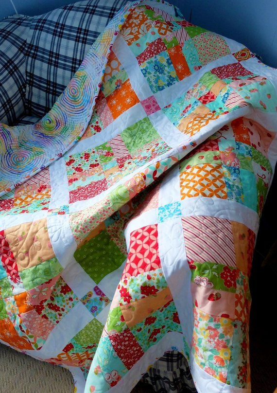 Quilted Patchwork Lap Cover Bed Throw Quilt Modern Colourful Quilt