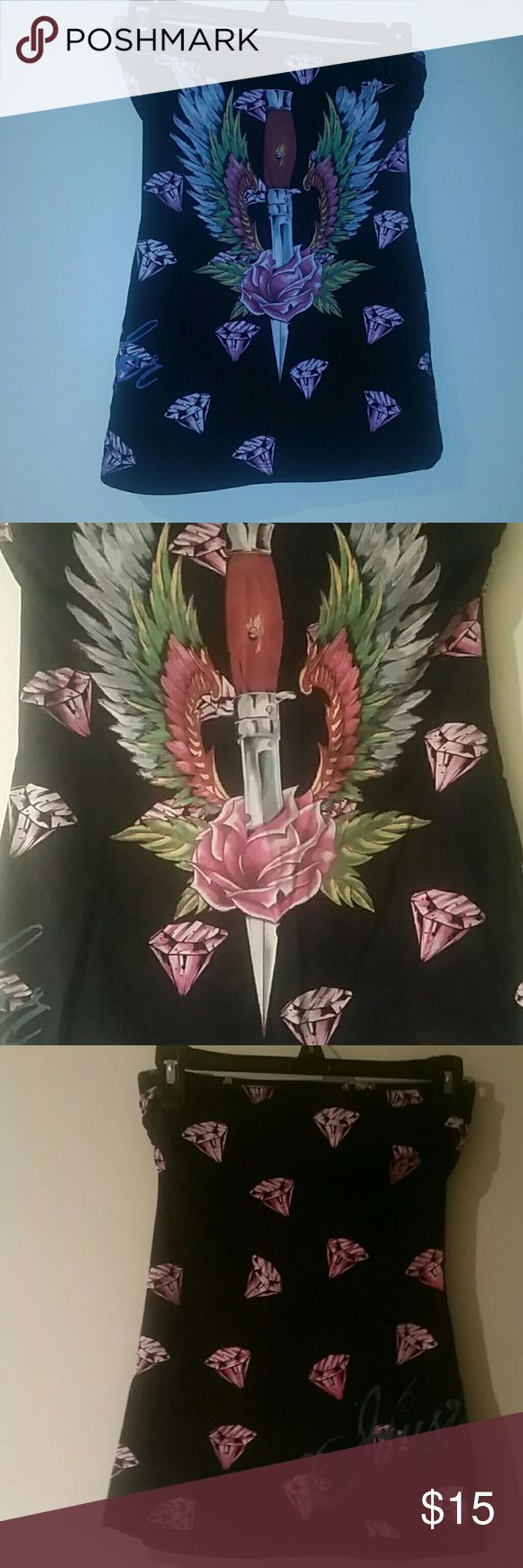 Hustler tube top Black tube top with pink diamonds and a dagger with rose and wings. Only worn a couple of times Hustler Tops