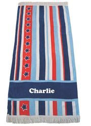 This is a great towel to take to the beach or to use for bathtime. Super soft with a fringe - just the perfect personalised beach/bath towel http://teddybearsandgifts.com.au/beach-towel-bright-star-navy/