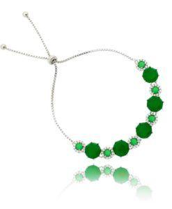 pulseira moderna esmeralda com pulseira ajustável semi joias online