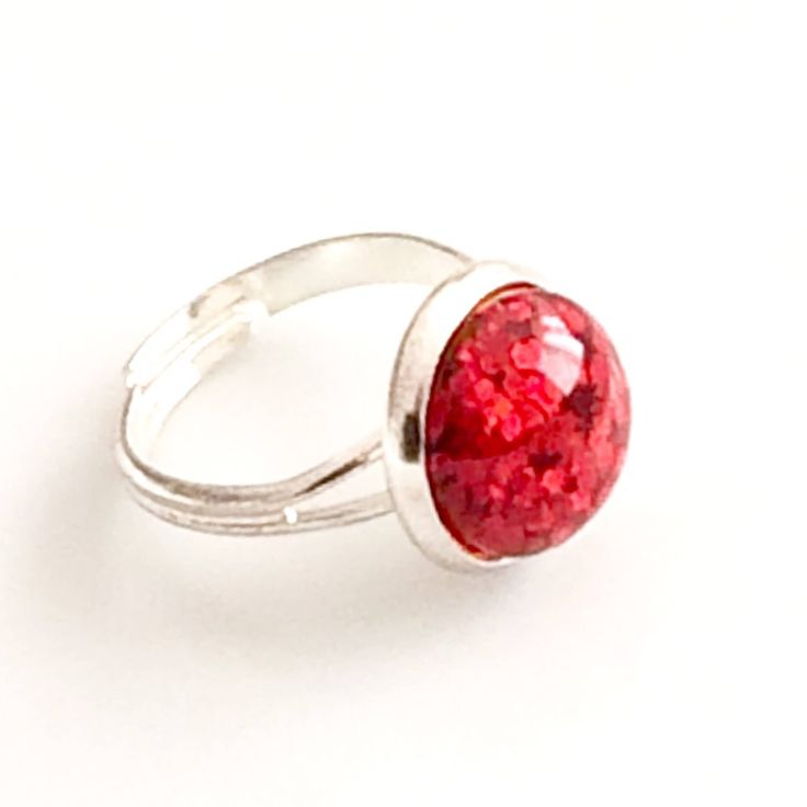 Red Glass Glitter Ring - Silver plated adjustable ring - Red ring - flat 12 mm - bridesmaid gift Canada by AnisasClayCreations on Etsy https://www.etsy.com/ca/listing/544833469/red-glass-glitter-ring-silver-plated