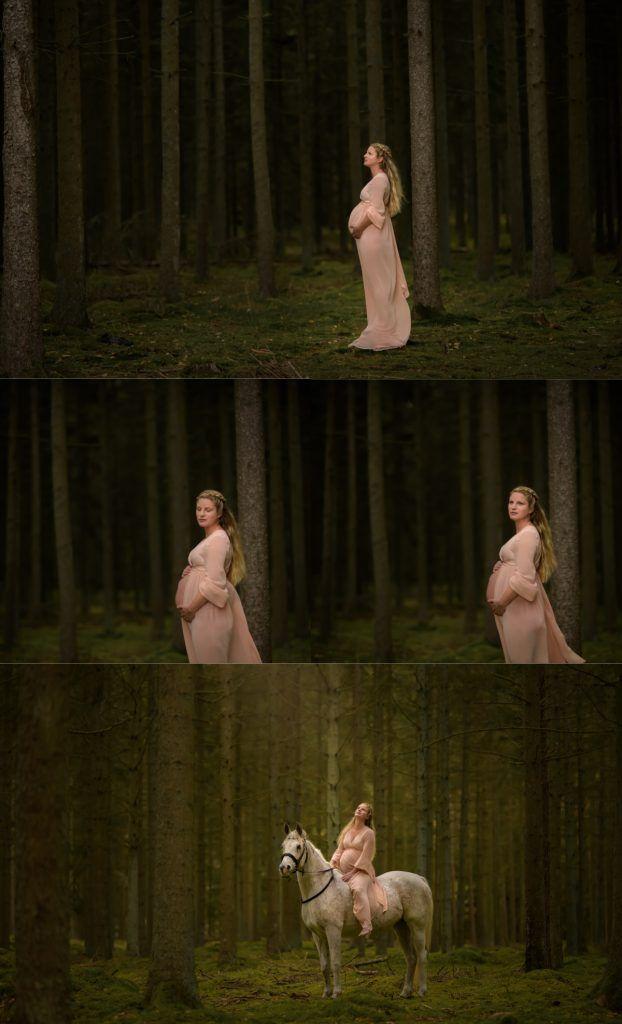 Maternity photographer Fotograf Maria Lindberg from Sweden. Maternity photoshoot. Maternity dress. Maternity and horse. www.fotografmarialindberg.se