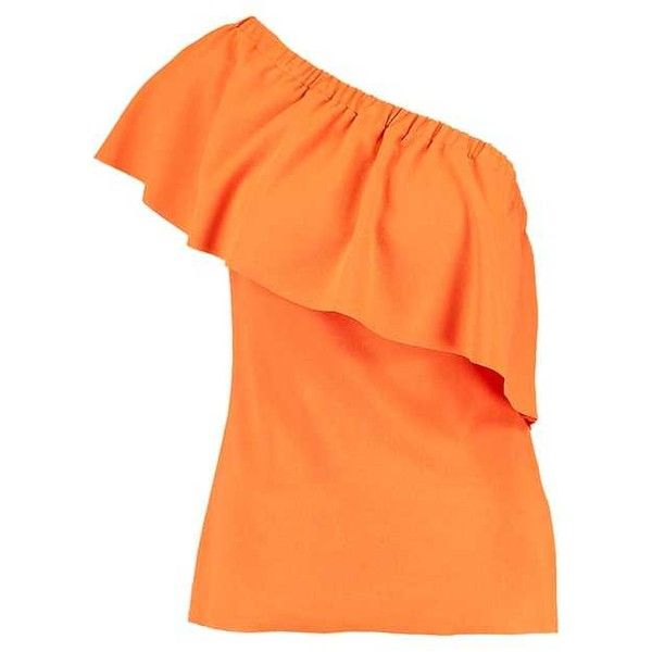 T-shirt med tryck orange ❤ liked on Polyvore featuring tops, t-shirts, red t shirt, orange t shirt, orange tee, red tee and red top