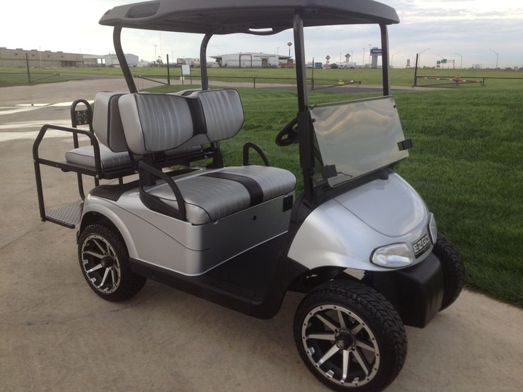 Silver golf cart with custom contoured silver golf cart