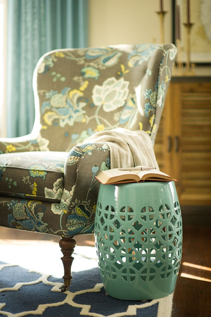 floral print upholstered chair + turquoise garden stool | Two Hands Interiors