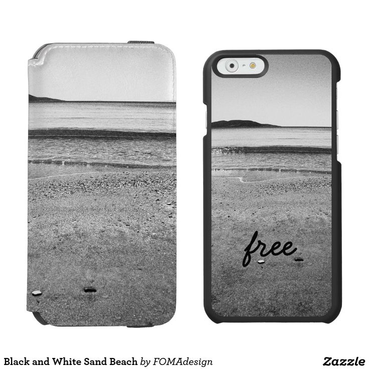 """Black and White Sand Beach - """"Free"""" / Incipio Watson™ iPhone 6, 2-in-1 Wallet Case + Interior Case! #fomadesign"""