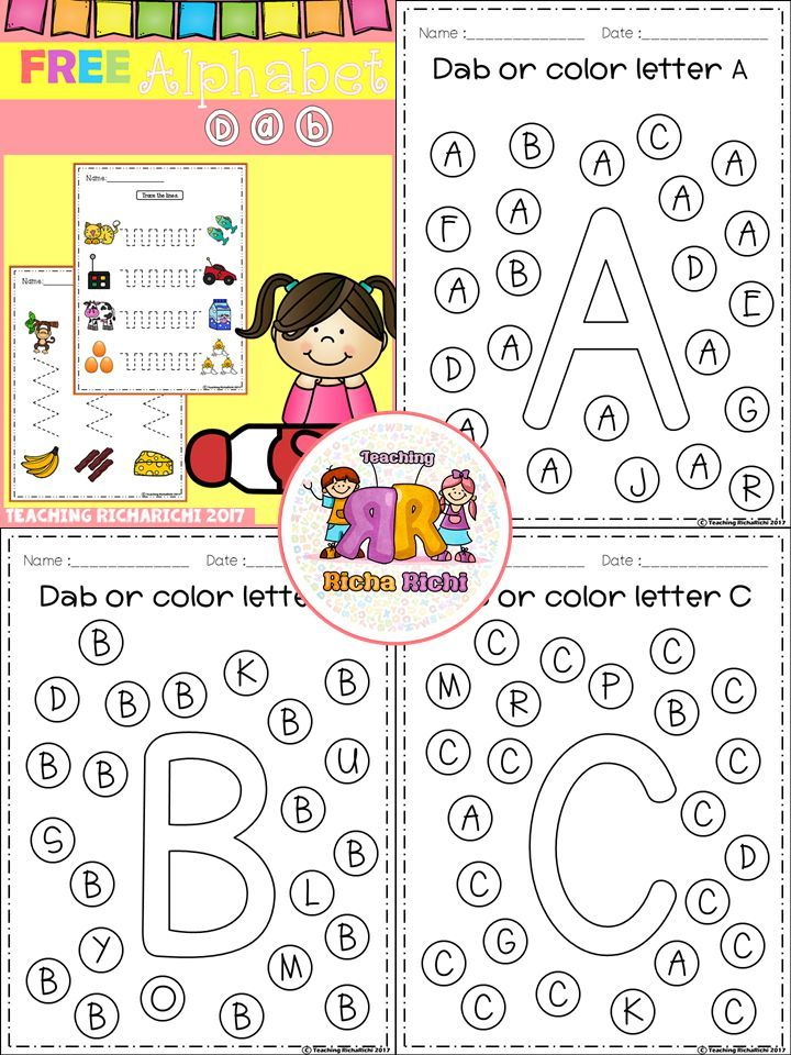 FREE Alphabet Dab (A-Z)   TpT FREE LESSONS   Pinterest