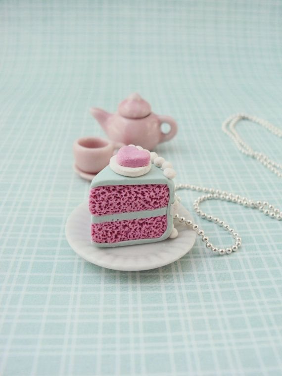 Bubblegum flavored Cake Necklace Polymer Clay, Miniature Clay Dessert Food…