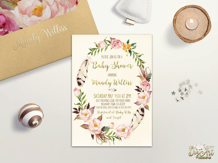REPIN NOW for later! Floral Wreath Baby Shower Invitation Printable Boho Baby Shower Invite Girl Baby Shower Gold Foil Spring Baby Shower Invite DIY Digital File by DigartDesigns on Etsy