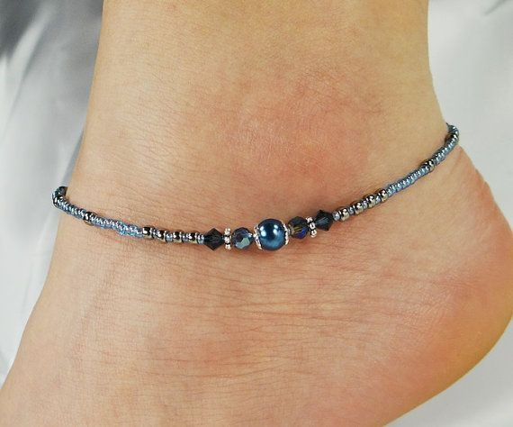 Anklet, Ankle Bracelet Midnight Blue Pearl Beaded Anklet, Something Blue Wedding Jewelry Minimalist Anklet, Blue Anklet, Pearl Anklet