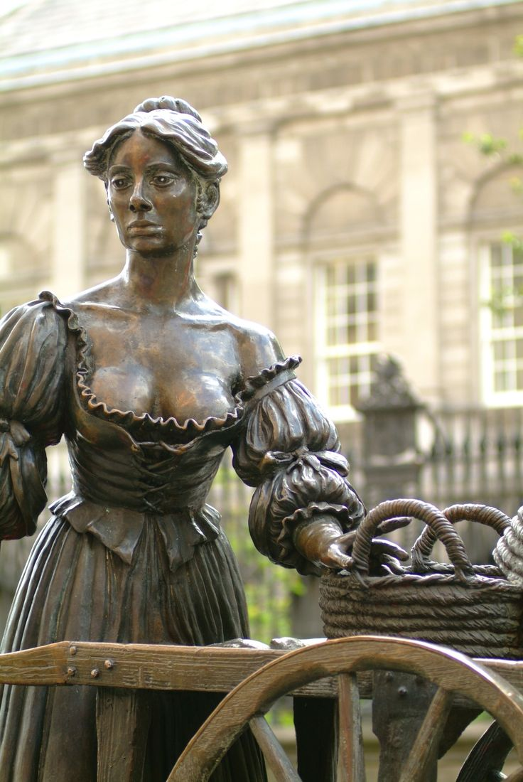 """Ever taken a photo with Molly Malone? She's a Dublin icon, honored both in statue and the song, 'Cockles and Mussels'. You might recognise the opening lines: """"In Dublin's fair city, where the girls are so pretty, I first set my eyes on sweet Molly Malone As she wheeled her wheel-barrow, through streets broad and narrow, Crying cockles and mussels, alive, alive-O!"""""""