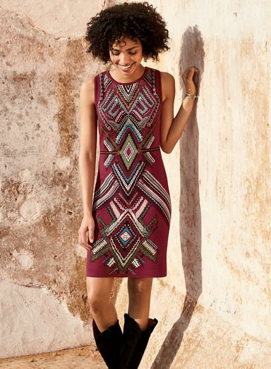 Our garnet pima jacquard knit dress is patterned front and back with strategically placed geometrics from a Moroccan textile. With a high round neckline and shaped waist, it's perfect for transition weather with a cardigan and tights.