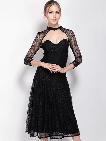 Women Sexy Lace Backless A-line Three Quarter Sleeve Maxi Dress Shopping Online - NewChic