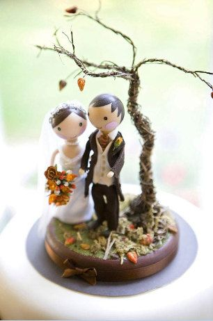 Cutest Wedding Cake Topper - Made from polymer clay, fabric, acrylic paint and various other bits and bobs!