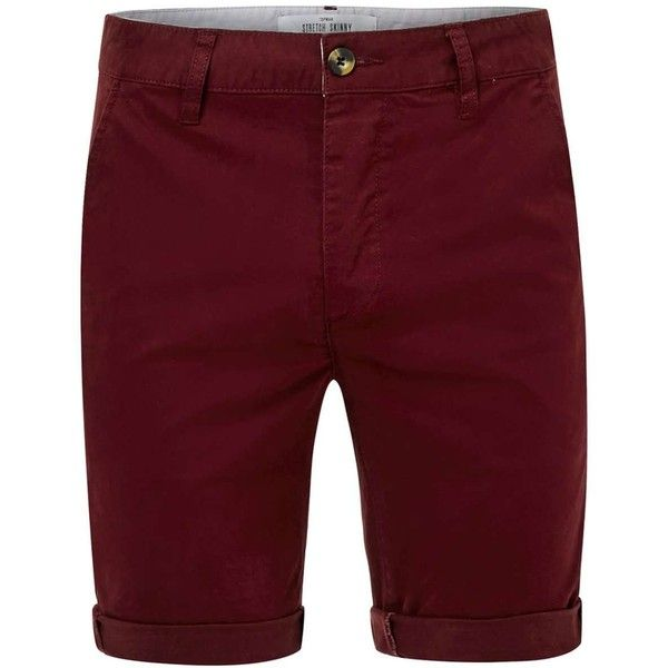 TOPMAN Burgundy Stretch Skinny Chino Shorts ($29) ❤ liked on Polyvore featuring men's fashion, men's clothing, men's shorts, burgundy, mens long shorts, mens chino shorts and mens stretch waist shorts