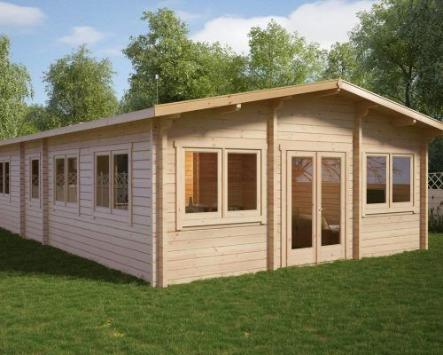 Large Wooden Lodge With Two Bedrooms Valencia 60m2 / 70mm