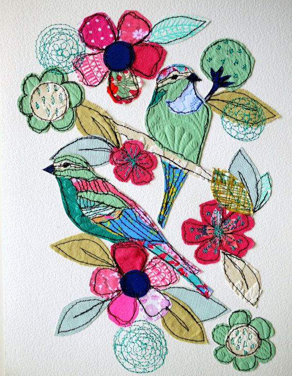 Jade Garden- stitched original art- bird/floral with free motion embroidery